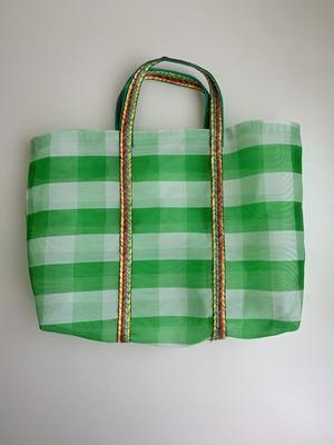 台湾 市場バッグ グリーン×ホワイトボーダー メッシュバッグ