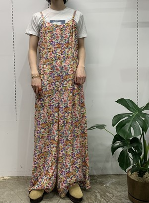 1980s DAIQUIRI rayon flower pattern all-in-one【11】
