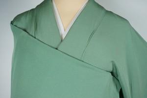 トールサイズ 色無地 ちりめん 正絹 一つ紋 山葵色 黄緑 392