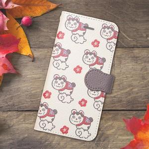 【S/Msize】めでた福猫の手帳型スマホケース #iPhoneX対応
