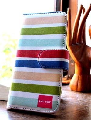 今だけ送料無料♪北欧デザイン pinkindia iPhoneケース手帳型 Summer stripe