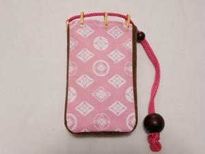 帆布製 スマホケース ピンク 家紋 七宝 胡粉