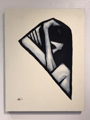 山田裕吉「髪を流す女」53×41cmパネルに和紙。アクリル、ミクストメディア