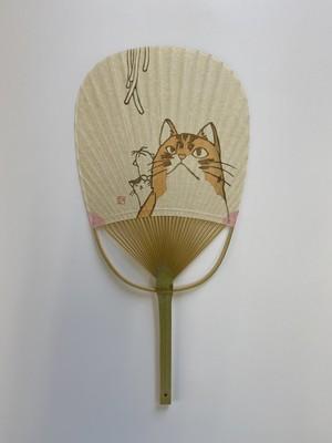 """丸亀うちわ 小判型 うどんと猫    Marugame Uchiwa Fan """"Udon and a cat"""""""