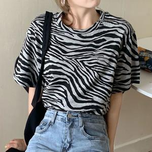 【トップス】韓国系ストライプ柄ラウンドネック合わせやすいTシャツ43176325