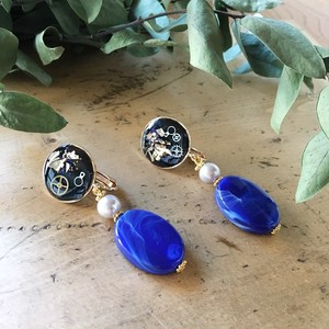 Black and Gold with Blue beads earrings