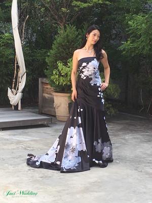 マーメイドライン ドレス 和柄 花柄プリント ブラック お色直し 演奏会 発表会 シャーリング スタイルアップ