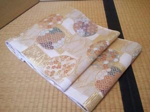 袋帯 072 銀地小花