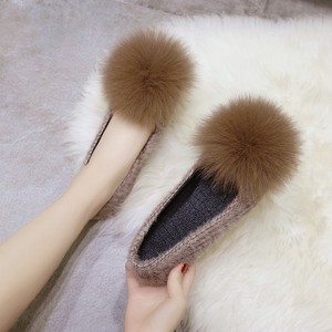 【シューズ】配色シンプル暖かいローファー24327343