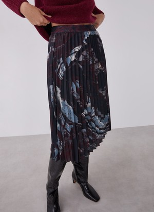 PLEATED SKIRT WITH SIGNATURE PRINT
