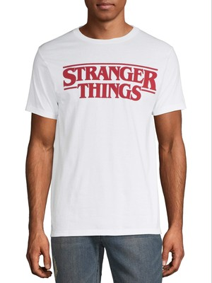 ストレンジャー・シングス ヘイ・ストレンジャー ロゴ グラフィック Tシャツ ホワイト