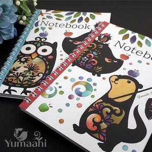 ノート B6サイズ リングタイプ カワウソ ミミズク ブタ ニワトリ Yumaahi2021