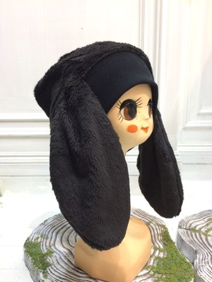 NIGATSU うさみみ帽  シャギーブラック