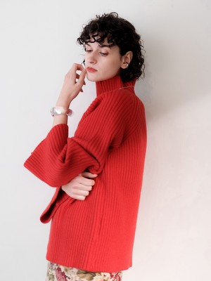 bell sleeve high neck knit(red)