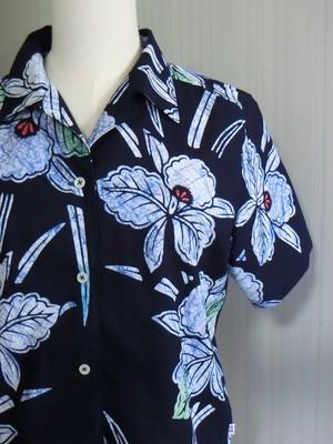 ろうけつ染め浴衣 リメイクレディースシャツ 涼し気な水仙模様