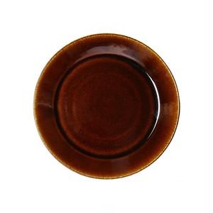 益子焼 つかもと窯 伝統釉 フラット プレート 皿 S 飴釉 TH-4