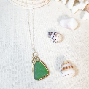 【brass×silver925】seaglass necklace