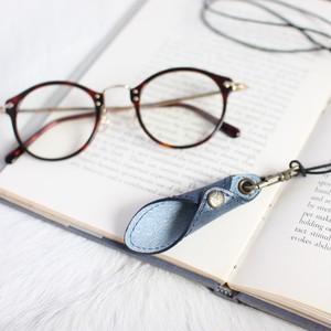 メガネをオシャレに!便利に!首元に!!レザー・グラスホルダー(ネイビー)