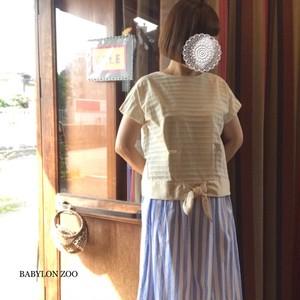 《オフホワイトのみ》Porter des boutonsの裾切り替えリボン 半袖カットソー