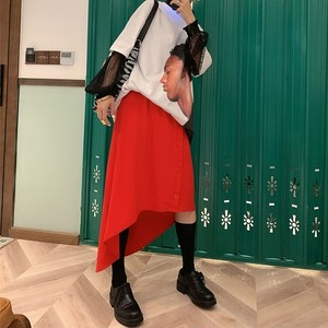 【送料無料】P6139 スカート フレアスカート イレヘム ミモレ丈 ひざ丈 前ボタン ウエストゴム お洒落 韓国ファッション 無地