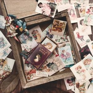 D37 BOX入 紙もの ミニミニカード 全10種類 海外製 レトロ 花柄 アート ヴィンテージ調 英字 天使 きのこ コラージュ ジャンクジャーナル 素材