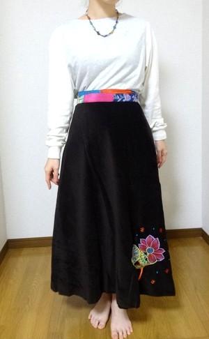 EMS-010BR ベルベット刺繍×シルク巻きスカート 茶色