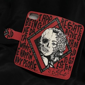 GiMME(ギミー) / iPhone6.7.8 case / Flower girl&Skull(手帳type) / RED