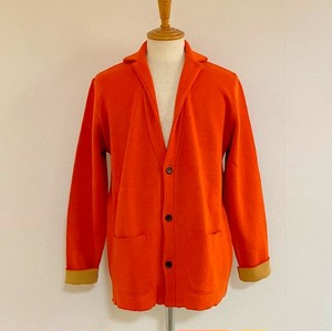 Switch Color Knit Jacket Orange