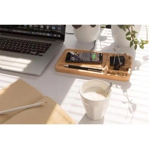 バンブー(竹)製 ワイヤレス 急速充電器(USBケーブル付き)