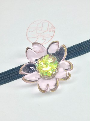 Sakura glass accessory for Kimono belt (obijime)