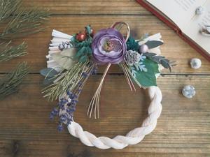 Bonne Année <moden purple>* お正月*しめ縄飾り*しめ縄リース*アーティフィシャルフラワー*プリザーブドフラワー*ギフト