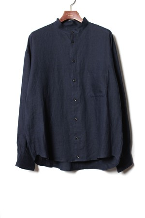 Military Sleeve Band Collar Shirt -navy <LSD-BA1S1>