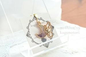 月と蝶々の片耳イヤリング~紫薄水~