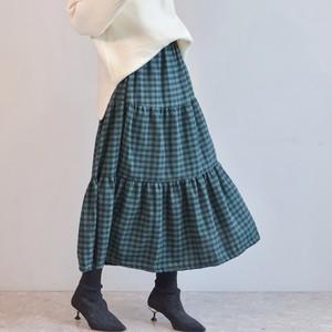チェックマキシスカート/GR