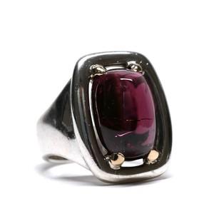 Hermès Vintage Sterling Silver & 18k Gold Garnet Ring