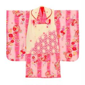 【3歳】七五三/節句 被布セット 麻の葉模様 桜色 ピンク