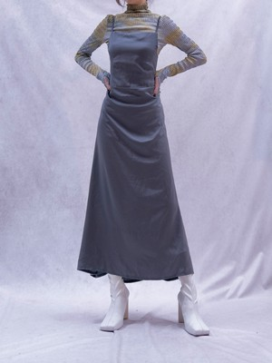 【WOMENS - 1 size】APRON LONG DRESS / Grey