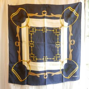CELINE Silk Horsebit Print Scarf -Navy-