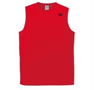 KYUSワンポイント ノースリーブドライメッシュシャツ (レッド)