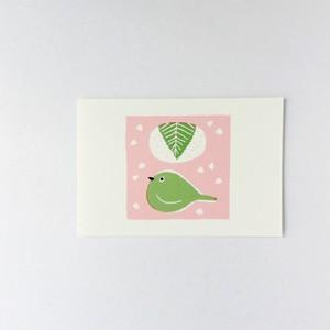 ポストカード 桜餅、メジロ