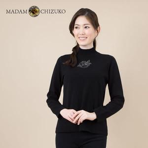 MADAM CHIZUKO / ラインストーン付きハイネックプルオーバー / カシミヤ100%(イタリア糸使用)