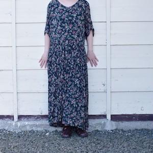 Flower Pattern Dress / 花柄 レーヨン ドレス / 花柄 ワンピース