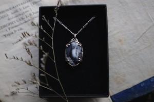 Dendritic agate pendant / silver