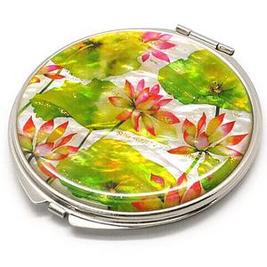 天然貝 コンパクトミラー(蓮の花)<螺鈿アート>