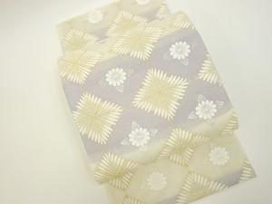 ☆91115☆未使用美品 袋帯 夏物 絽地 唐織 菱に草花模様
