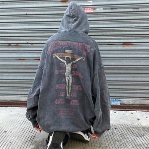 【トップス】男女兼用長袖暗黒系ストリート系ユーズド加工パーカー52130824