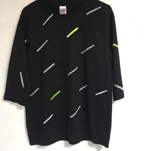Slanting scifai 3/4 sleeves tee black men's M