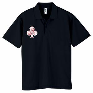 白クラブ(胸) ドライポロシャツ ブラック