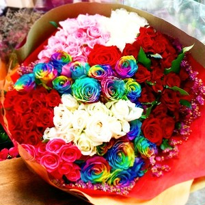 Bouquet of 100roses with 20Rainbow