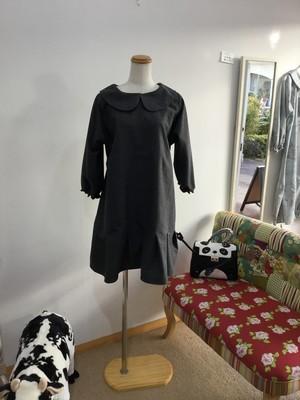 パリジェンヌ気分のコットンスウェード丸襟ワンピース(八分袖)